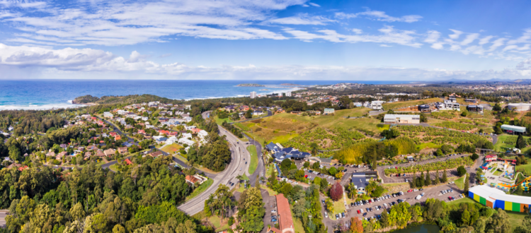 Coffs Harbour regional town on Australian Mid North coast of NSW