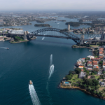 Sydney aerial photo showing city and harbour
